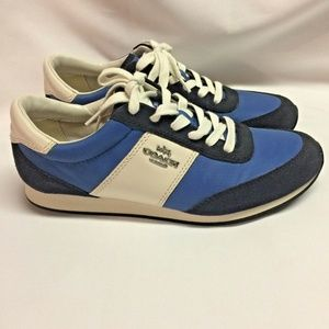 Coach Raylen Fashion Sneakers Size 7M Blue Cream